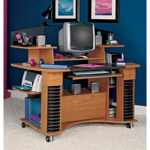 Picture of Comfortable Bush - Jagger Mobile Computer Desk with File Cabinet (B002UPOFG8) (Computer Desks)