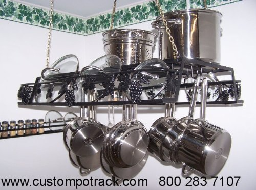 Image of Hanging Artistic Grapevine Pot Pan & Lid Rack Amish made in USA (HGV)