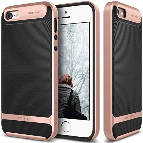 iPhone-SE-Case-Caseology-Wavelength-Series-Textured-Pattern-Grip-Cover-Black-Rose-Gold-Shock-Proof-for-Apple-iPhone-SE-2016-iPhone-5S-5-2013-Black-Rose-Gold