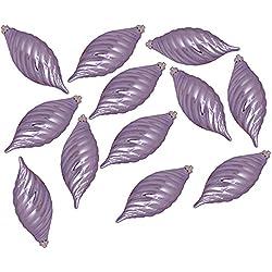 "Vickerman Club Purple Lavender Shatterproof Finial Christmas Ornaments, 12 Pack, 4.75"""