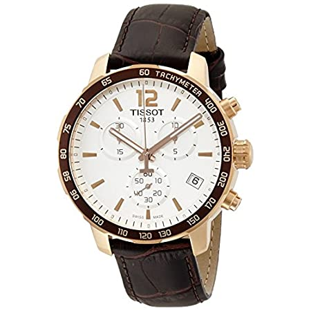 WATCHBrand TissotSeries Quickster Model No T0954173603700Gender Mens Movement Quartz Case Material Rose Gold-plated Stainless SteelDiameter:  42 mmThickness 10.72 mmBezel Fixed Brown Ion-plated with TachymeterColor White Band Material Brown LeatherCl...