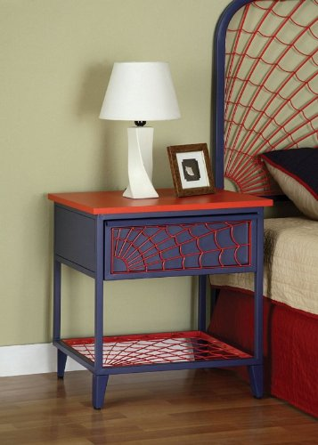 Image of Kids Nightstand with Spider Web Design in Denim Blue and Red Finish (AZ00-46831x20323)