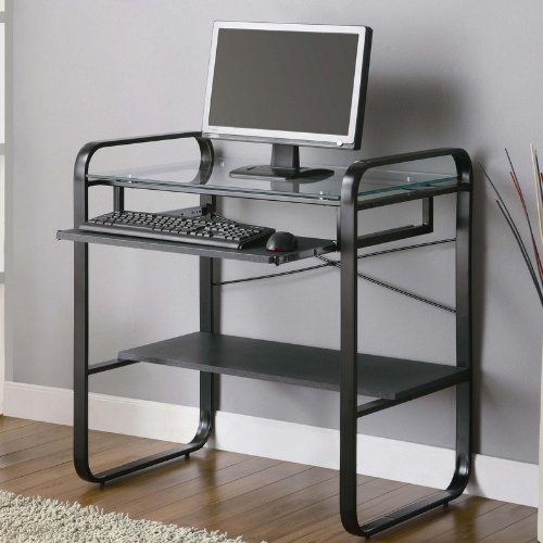 Picture of Comfortable Metal Computer Desk with Glass Top in Black and Gray Finish (B0057POC3O) (Computer Desks)