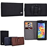 Cellphone holder with belt loop holster- card slots inserts- Midnight Black : Universal fit for HTC Desire L