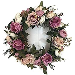 Lingstar Classic Artificial Simulation Flowers Garland for Home Room Garden Lintel Decoration,Purple Peonies