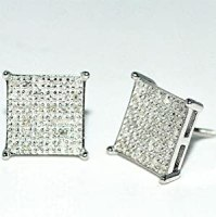 Amazon.com: 8mm Large Diamond Stud Earrings Square ...