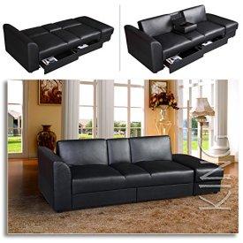 KING-Funktionssofa-Schwarz-Schlafsofa-Sofa-Kunstleder-Bettsofa-Lounge-Couch