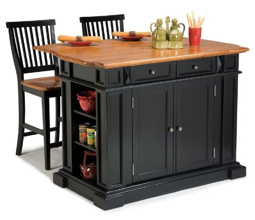 Image of 3pc Kitchen Island and Stools Set in Black and Oak Finish (VF_HY-5003-948)