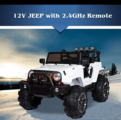 Kids-12V-Electric-Ride-On-Jeep-Truck-with-RC-Remote-Control-White