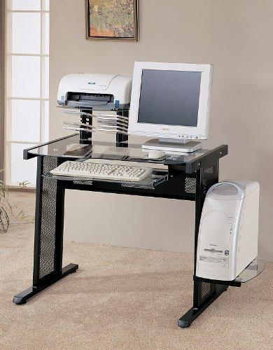 Picture of Comfortable Modern Black Finish Computer Work Station Desk Table (B003K5QBPU) (Computer Desks)