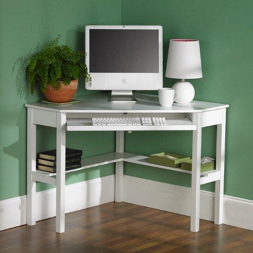 Picture of Comfortable White Contemporary Corner Computer Desk (B002Q8X664) (Computer Desks)