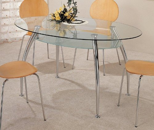 Image of Retro Style Oval Dining Table with Glass Top (VF_AZ00-26409x29727)