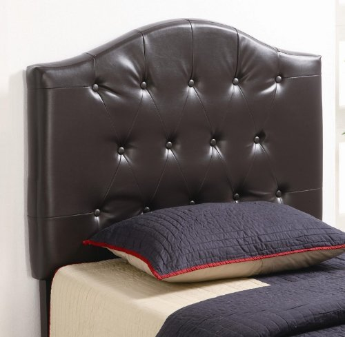 Image of Twin Size Kid Headboard with Button Tufted in Dark Brown Faux Leather (VF_460302)