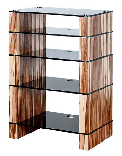 Image of BLOK STAX DeLuxe 500 Five Shelf Satin Walnut Hifi Audio Stand & AV TV Furniture Rack Unit (B008AHJ8K8)