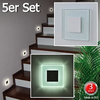 5er Set LED Wandleuchten 230V Kaltwei SUN-LED 100x100mm ...