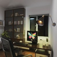 LNC Black Wall Sconce, Plug-in Metal Swing Arm Wall Lamp ...