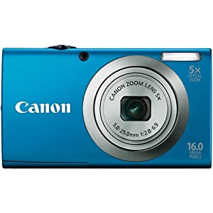 Canon PowerShot A2300 IS 16.0 MP Digital Camera with 5x Digital Image Stabilized Zoom 28mm Wide-Angle Lens with 720p HD Video Recording (Blue)