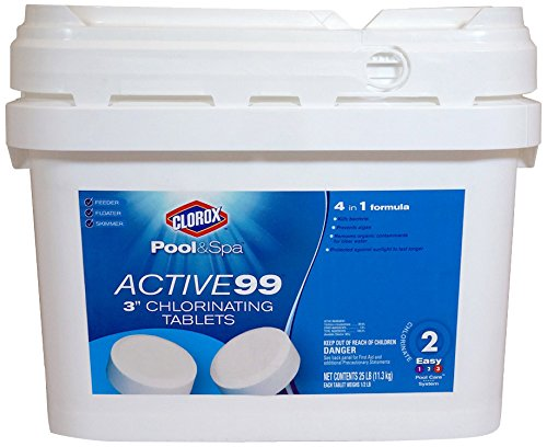 Clorox Pool&Spa 22025CLXW Active 99 3-Inch Chlorinating Tablets, 25-Pound
