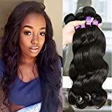 """Mornice Hair 4 Bundles 100% Unprocessed 8A Brazilian Remy Virgin Hair Weft Weave Real Body Wave Human Hair Extensions Natural Black 400G (10""""10""""10""""10"""")"""