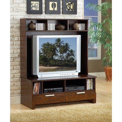Image of Bernards Furniture Espresso Plasma TV Stand with Hutch (7981, 7980)