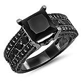 5.00 Carat (ctw) Black Rhodium Plated 10K White Gold Princess & Round Black Diamond Engagement Ring 5 CT