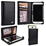 Universal Genuine Leather Men's Wallet Smartphone Case Fits Oppo Mirror 3|Black