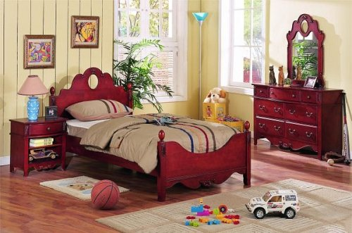 Image of 4 pc cherry finish wood twin size kids bedroom set (VF_BEDSET-F9029)