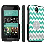 Htc Desire 520 Case, [SkinGuardz] Black Form Fit Fancy Protection Case - [Mint Chevron L Monogram] Print Design