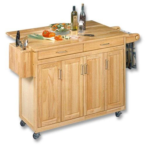Image of Kitchen Cart with Drop Leaf in Natural Finish (VF_HY-5023-95)