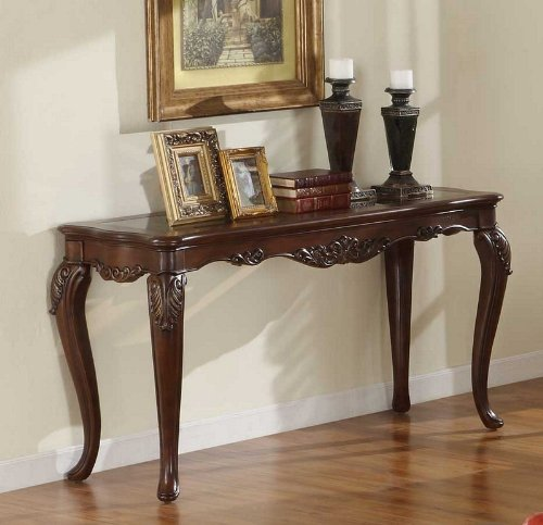 Image of Console Sofa Table Queen Anne Style in Warm Brown Cherry (VF_HE1288-307)
