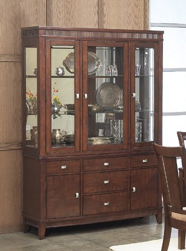 Image of China Cabinet Buffet Hutch with Sturdy Design in Rich Walnut Finish (VF_AP-341-71-72)