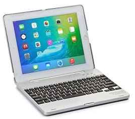 Cooper-CasesTM-Kai-Skel-Apple-iPad-2-34-Mini-Clamshell-Keyboard-Case-in-Silver-MacBook-like-Design-Built-in-QWERTY-Keyboard-Bluetooth-30-Connection-82-Keys-60-Hour-Rechargeable-Battery-Auto-SleepWake