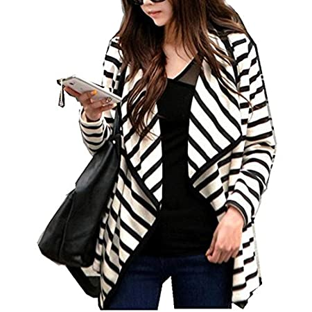 Changqingteng Women's White Long Sleeve Striped Cardigan Coat.The striped design is the current fashion element.Soft and warm,it's so nice and stylish.This coat will show your elegant and noble.Suitable for fall and winter,perfet for casual wear,easi...
