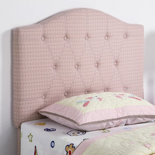 Image of Twin Size Kid Headboard with Button Tufted in Pink Patterned Fabric (VF_460303)