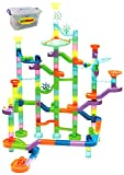 Edushape Marbulous Neon Translucent Marble Run 125 Piece Set + 55 Marbles in Reusable Plastic Bucket.