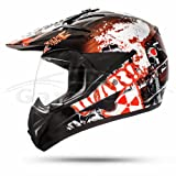 GS War Black Crosshelm mit Visier für Quad ATV Enduro Motorradhelm ECE 2205 Größe