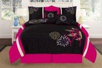 Hot Pink and Black Print Comforter & Bedding Sets for ...