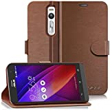 Asus ZenFone 2 Wallet Case - VENA [vSuit] Draw Bench PU Leather Wallet Flip Cover with Stand and Card Slots for Asus ZenFone 2 (Brown)