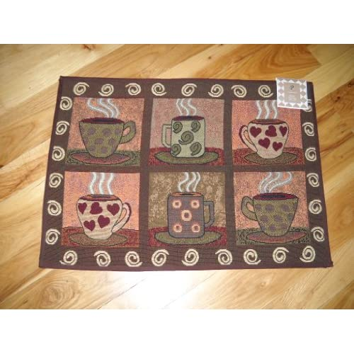6 Mugs Of Coffee Kitchen Tapestry Accent Throw Rug Cafe Decor