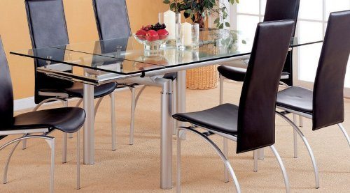 Image of Pearl Silver Glass Top Extension Dining Table (VF_AZ00-45948x27637)