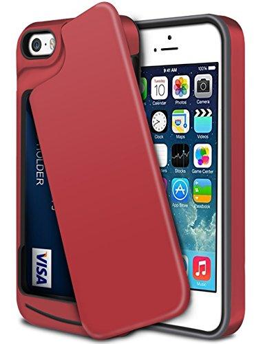 iPhone-5S-Case-iPhone-SE-CaseWollony-Slim-Fit-Hybrid-Dual-Layer-Armor-Protective-Back-Cover-iPhone-SE5S5-Wallet-Card-Slide-Case-Anti-Scratch-Shockproof-ID-Credit-Card-Slot-Holder-Bumper-Red
