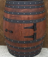 French Oak Wine Barrel Bar Table Cabinet with door and