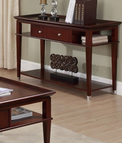 Image of Console Sofa Table with Drawer and Shelves in Espresso Finish (VF_F6131)
