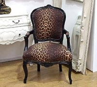 Vintage Retro French Louis XV Style Chair with Leopard ...