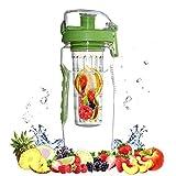 ROLLDEN Fruit/Vegetable Infuser Water Bottle Large 32oz - Best BPA-Free Sports Bottle - Flip Top Lid W Drinking Spout, Leak Proof, Made of Durable Tritan.