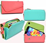 NuVur ™ All in One Universal Wallet Clutch Smartphone Case Fits Lenovo P70, P90, S60, S850, S856, S890, S90 Sisley, Vibe S1, Vibe Z|Coral/Mint