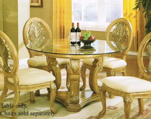 Image of Pedestal Dining Table with Glass Top Antique Buttermilk Finish (VF_AM8732)