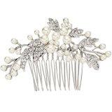 EVER-FAITH-Kristall-ivory-farbe-knstliche-Perle-Blume-Form-Haarkmme-Silber-Ton-N07885-1