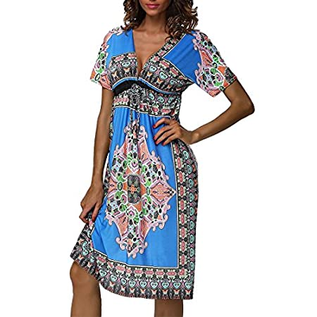 """Summer Bohemian Midi Sexy Deep V Neck Silk Kaftan Beach Cover Please use our size guide below, do NOT use the Amazon size chart above. Size details: Size S: length 35.4"""", waist 29.1"""" , sleeve length 10.2"""". Size M: length 35.8"""", waist 30.7"""" , sleev..."""