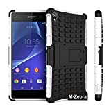 Sony Xperia Z3 Case, M-Zebra Sony Xperia Z3 Case Cover - Shock Absorption / High Impact Resistant Full Body Hybrid Armor Protection Defender Case Cover for Sony Xperia Z3,with Screen Protectors+Stylus(Black)+Cleaning Cloth (Kickstand White)
